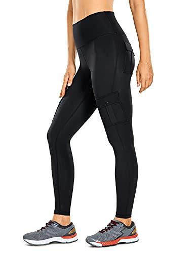 CRZ YOGA Mujeres Sentimiento Desnudo Ejercicio Carga Polainas 63cm - Cintura Alta Atlético Pantalones con 4 Bolsillos Negro 36