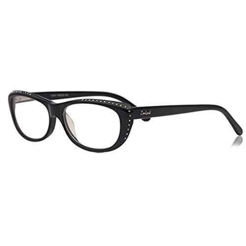 Elegante en heerlijke leesbril dames, comfortabele en luxe diamantkristal, Cat Eye Fashion leesbril (kleur: zwart, maat: 1,0 x)