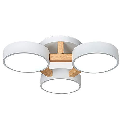 Nordic Macaron Round Log Luz plafon de techo Dormitorio Círculo Madera LED...