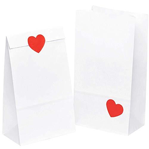 kgpack 50x Bolsas de Papel Kraft DIY con Pegatinas corazón 14 x 26 x 8 cm   Bolsas de Papel Kraft para niños   Calendario de adviento   Bolsa de Regalo de Fondo Plano   Bolsa de Papel de Alimentos