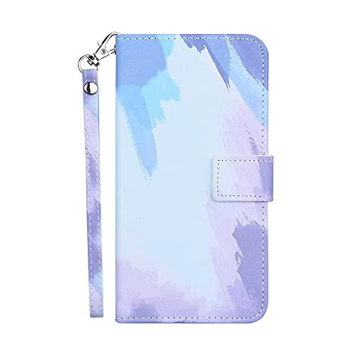 Bartern Funda iPhone 11,Patrón de Color Degradado Soporte Plegable Ranura para Tarjeta Cuero Premium Flip Folio Carcasa Case para iPhone 11,Cielo Azul
