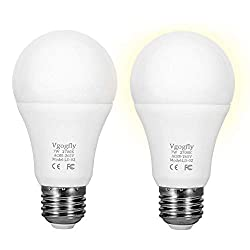 Sensor Lights Bulb Dusk to Dawn LED Light Bulbs Smart Lighting Lamp 7W E26/E27 Automatic On/Off, Indoor/Outdoor Yard Porch Patio Garage Garden (Warm White, 2 Pack)