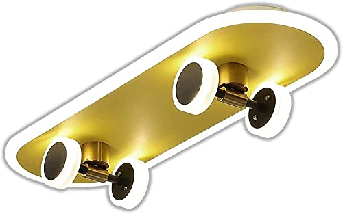 Lampada da Soffitto LED 32W 2240LM Creativo Skateboard Plafoniera Soffitto 6000K Boy Girl Bedroom Metal Soffilatore per lampadario per bambini Camera Playroom Corroney Garage-B.
