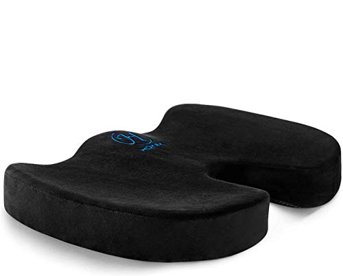 HOKEKI Seat Cushion Memory Foam Coccyx Cushion Designed for Back, Hip, and Tailbone Pain - for Office Chair,Car Seat, Wheelchair (Black)