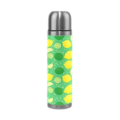 Ahomy - Bouteille Isotherme à Double paroi - en Acier Inoxydable - Jaune/Vert/Citron Vert - 0,5 l