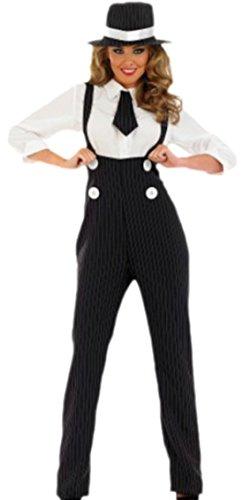 erdbeerloft - Damen Kostüm Gangster mit Bluse, Krawatte und Hut , XXL, Schwarz-weiß