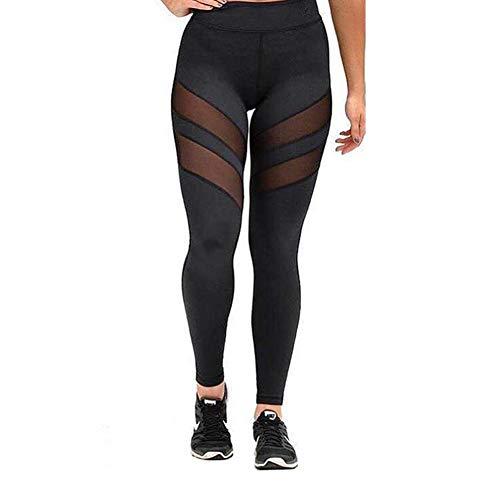 WANPUL Leggins Mujer Leggins Fitness Transpirables Leggins Yoga Cómodo Pantalon Fitness Cintura Alta Pantalon Leggins con Malla