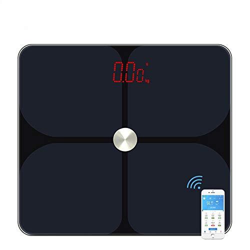 DAETNG Básculas de Grasa Corporal en el baño Bluetooth, analizador de composición, con Pantalla LED más Grande y Superficie de Vidrio Templado, medición de Alta precisión, Lectura instantánea de Peso