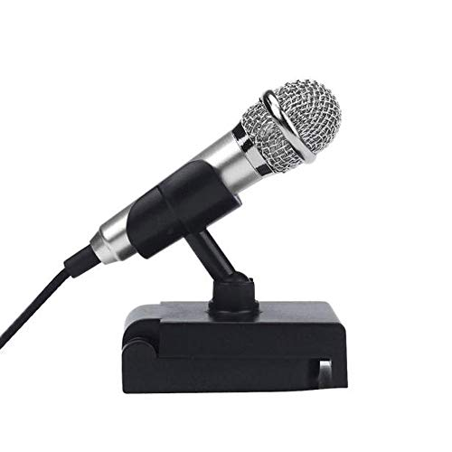 Haluoo Portable Mini Vocal Microphone with Holder Stand Cell Phone Microphone for Singing Live Karaoke Speech Fits Laptop Desktop Computer Tablet Tv Karaoke Instrument Mobile Phone Mic (Silver)