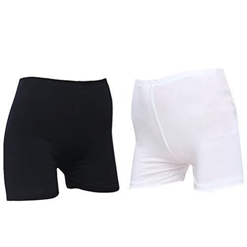 KESYOO 2 Stks Vrouwen Veiligheid Onder Shorts Ademend Slip Korte Legging Anti-Geleegd Jurk Legging Voor Meisjes Dames Studenten (Effen Top L Zwart + Wit)