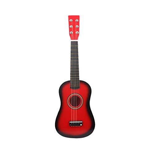 LIOOBO 23 zoll folk akustische gitarre musik instrument mini gitarre spielzeug für anfänger kinder musik liebhaber (rot)