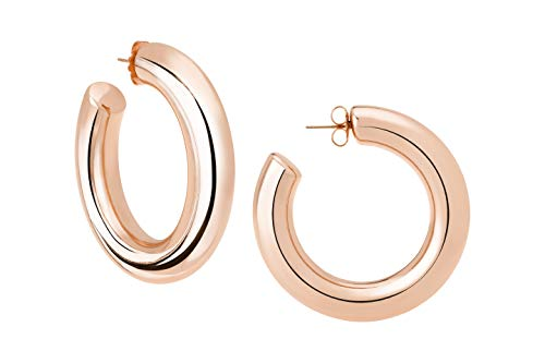 JANIS BY JANIS SAVITT High Polished Rose Gold Plated Large Hoop Earrings