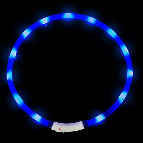 Collar para Perros, LED Collar de Seguridad para Perros, Collar USB Ajustable Recargable Impermeable Collar del Animal Doméstico