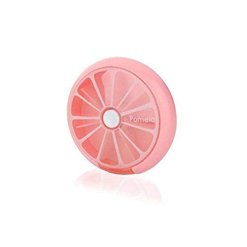 Lecez Caja de píldora giratoria de 7 Compartimentos, diseño de patrón de Fruta Mejorado Pequeño y Fresco Almacenamiento Creativo portátil, Crédito Creativo Transparente, Azul, Rosa, Naranja