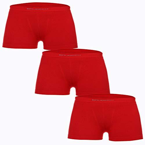BRUBECK Kinderunterhosen Jungen 3er Set | Retropants atmungsaktiv | Unterhose nahtlos | Boxer Briefs Seamless | Retros Jungs | Underpants Boy | 81% Baumwolle | Rot, Gr. 128-134 | BX10530