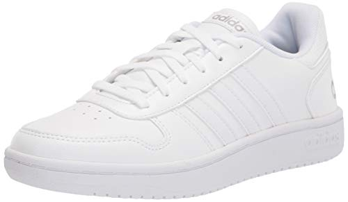 adidas womens Hoops 2.0 Sneaker, White/White/Grey, 8 US