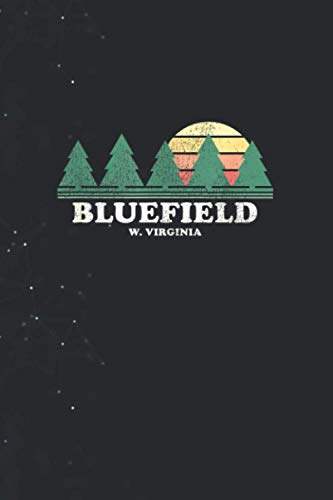 Bluefield WV Vintage Throwback Tee Retro 70s Design 114 Pages 6''x9'' in Journal lined Notebook