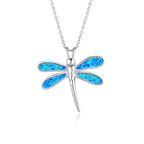 FANCIME Sterling Silver Opal Dragonfly Necklace Long Chain Charm Dainty Blue Pendant Jewelry for Women Girls 16'+2'