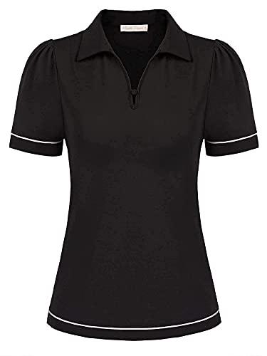Women Plus Size Golf Shirt Athletic Running Tops Color Block Polo Shirt(2XL,Black)