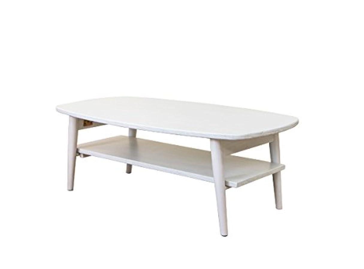 効果的に愛人検閲TRIM 折りたたみテーブル 90cm幅棚付き ホワイトウオッシュ VTM-02WW