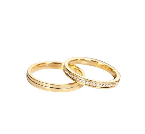 KnSam Mujer Hombre Unisex 18k oro rojo 18 quilates (750) redondo Diamond