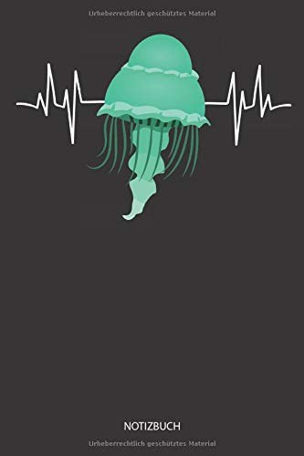 Notizbuch: Qualle Herzschlag / Heartbeat Design - Liniertes leeres Quallen Notizbuch. Lustiges Quallen Bild, Urlaub, Strand und Meer Design. Medusen & Quallen Geschenk für Damen, Herren & Kinder.