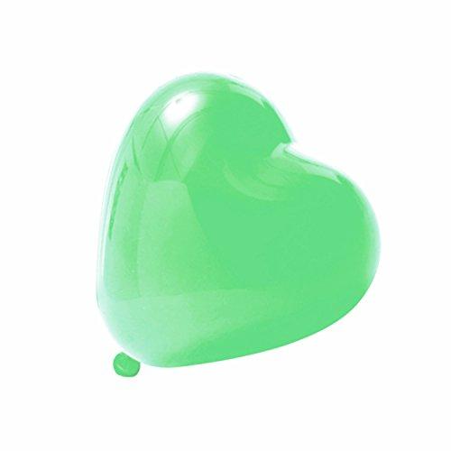logei® 100x Ballons sous forme en Coeur Amour Ballon Coeur Ballon Ballons de décoration pour la fête, l'engagement, le mariage, l'anniversaire et la Valentine (Vert)