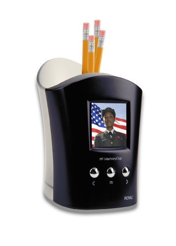 Royal Machines PF Memory Cup Holder 1.5-Inch LCD Viewer Personal Digital Picture Frame with Pencil Cup