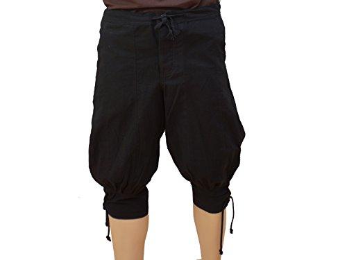 Trollfelsen Mittelalter Wikinger Kniebundhose Farbe Schwarz Beinschnürung LARP Gewandung Cosplay Größe S bis XXXL - L