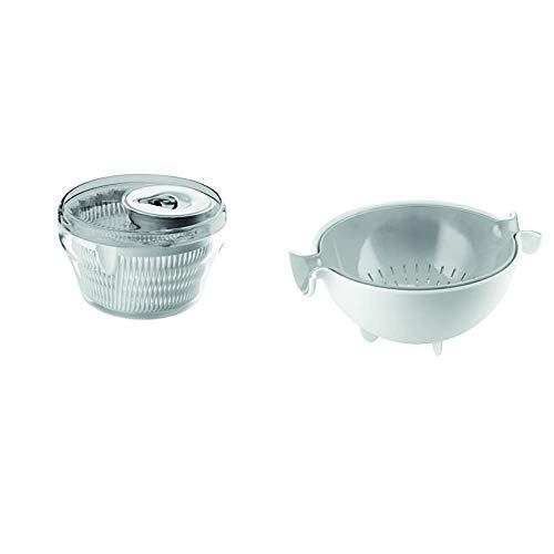 Guzzini Centrifuga Insalata Kitchen Active Design, Grigio Cielo, Diametro 28 x h18 cm & Set Scolatutto con Contenitore Kitchen Active Design, Grigio, 30 x 25 x h12.5 cm