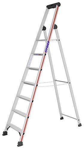 HYMER 402607 Stufenstehleiter mit Plattform, einseitig begehbar, 7 Stufen