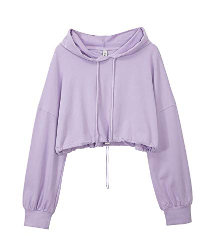 Women's Cropped Hoodies Long Sleeve Drawstring Pullover Hooded Sweatshirt Lilac Small