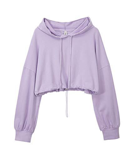 Women's Cropped Hoodies Long Sleeve Drawstring Pullover Hooded Sweatshirt Lilac X-Large
