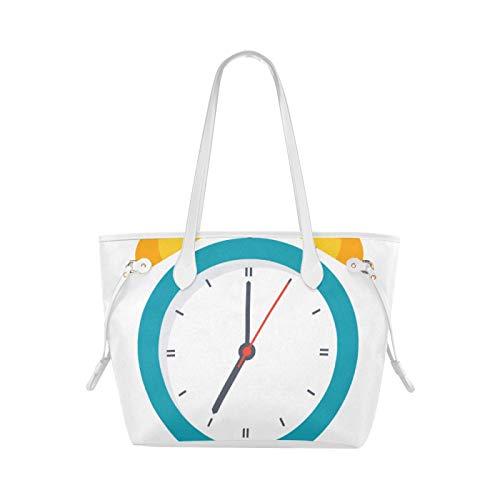 JIUCHUAN Sac d'épaules petit sac à main de réveil de couleur exquise pour les filles sac fourre-tout quotidien grande capacité résistant à l'eau avec poignée Durable