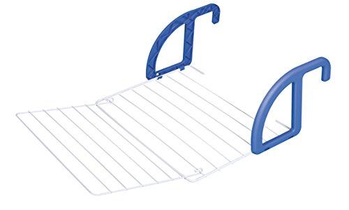 herby 3077 - Stendino da Balcone/termosifone, in Acciaio termolaccato e plastica, Dimensioni: 56 x 2 x 41 cm, Colore: Bianco/Blu