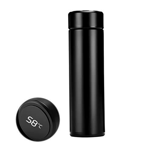 Thermosfles 500 ml roestvrij staal, hothap 500 ml thermoskannen temperatuur digitaal display roestvrij staal waterfles beker zwart