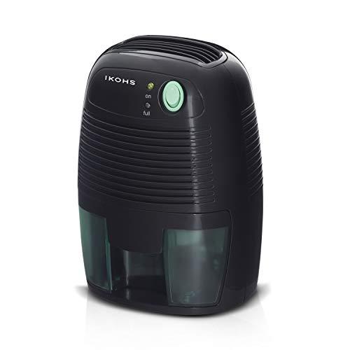 IKOHS DRYZONE - Deshumidificador de Aire Electrico, Mini Deshumidificador 500ml Portátil y Silencioso, Apagado automático, Purifica Aire y Evitar Bactéria y Humedad, Compacto y Ligero (Negro,500ml)