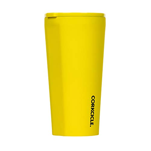 Corkcicle 16oz Tumbler - Neon Lights Collection - Triple Insulated Stainless Steel Travel Mug, Neon Yellow