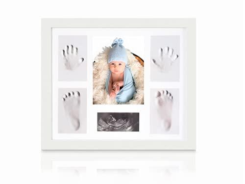 Baby Hand und Fuß Set mit Bilderrahmen, Baby Handabdruck und Fußabdruck Set, Geschenk zur Geburt, Geschenkidee für Mutter und Vater, Erinnerung für die Ewigkeit (Weiss)