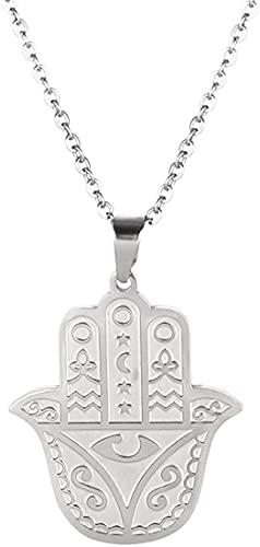 AMOZ Acero Inoxidable Hamsa Mano de Fátima Collar de Ojo Malvado Colgante Grabado Joyería de la Suerte Collares de Amuleto para Regalos de Cumpleaños de Navidad para Hombres Y Mujeres