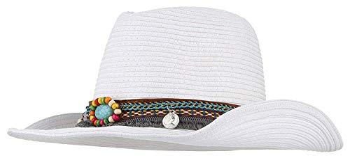 HaiDean Mützen Unisex Strohhut Herren Damen Vintage Jungen Jazzhut Chic Westernhut Strand Sunscreen Schutz Sommerhut Cowboyhut Caps (Color : Weiß, Size : One Size)