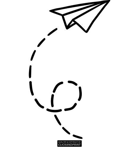CLICKANDPRINT Aufkleber » Papierflieger, 20x11,7cm, Schwarz • Wandtattoo/Wandaufkleber/Wandsticker/Wanddeko/Vinyl