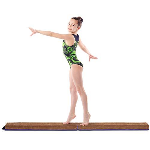 COSTWAY 240cm Schwebebalken, Balken Turnen mit Klettverschluss, Balance Beam klappbar, Gymnastikbalken bis 60kg belastbar, Balance Balken für Zuhause Turnen