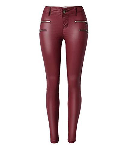 Leggings De Cuero De Imitación De Las Mujeres Wet Metal Cintura Leggings De Cuero Artificial Pantalones Pantalones De Cuero De La PU Pantalones Al Aire Libre Ocasionales
