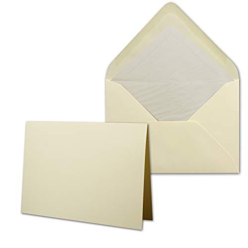 50 Sets - großes Kartenpaket mit 50 Faltkarten & 50 Umschlägen DIN B6 in Creme-Chamois - GERIPPT