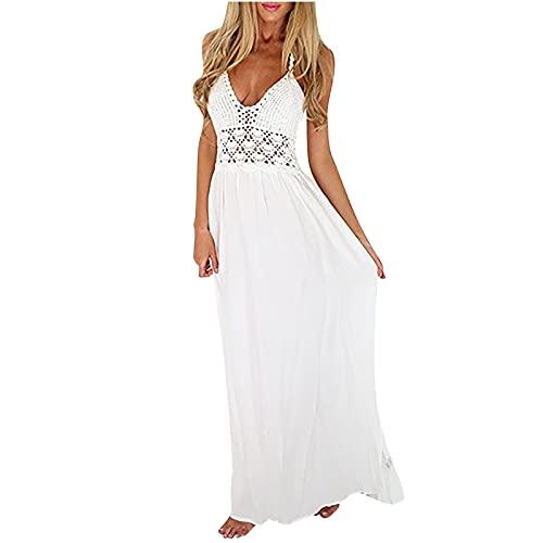 Zzbeans Sommerkleid Damen Lang, V Ausschnitt Ärmellos Kleid Boho Kleid Weiß Summer Aushöhlen Halfter Stricken Kleid Maxikleid Strandkleid Lang