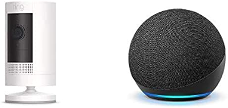 Ring Stick Up Cam Battery HD security camera (White) with Echo Dot (4th Gen - Charcoal)
