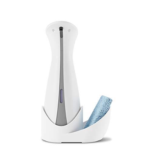 Umbra Otto Caddy 250ml Automatischer Seifenspender für Flüssigseife und Handdesinfektionsmittel mit Schwammablage, Weiss/Grau, Einheitsgröße