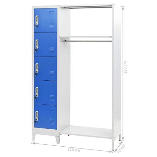 mewmewcat Taquillas Vestuario Metalicas con 5 Compartimentos y 1 Perchero, Azul y Gris, 110x45x180 cm