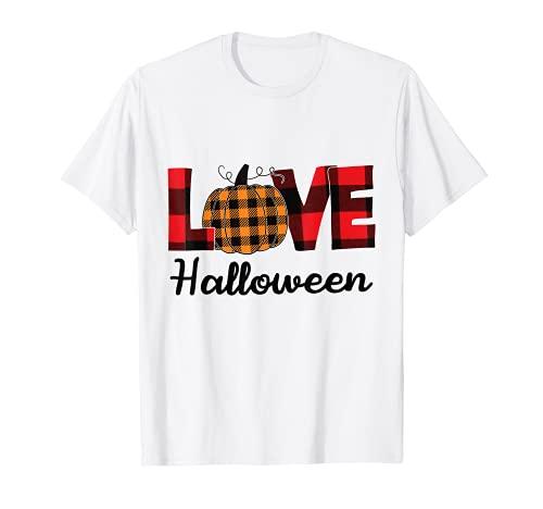 Amor Calabaza Plaid Otoo Halloween 2021 Camiseta